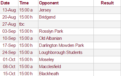 2016-17 National 1 Fixtures