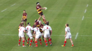 Maama Molitika takes a lineout against Plymouth