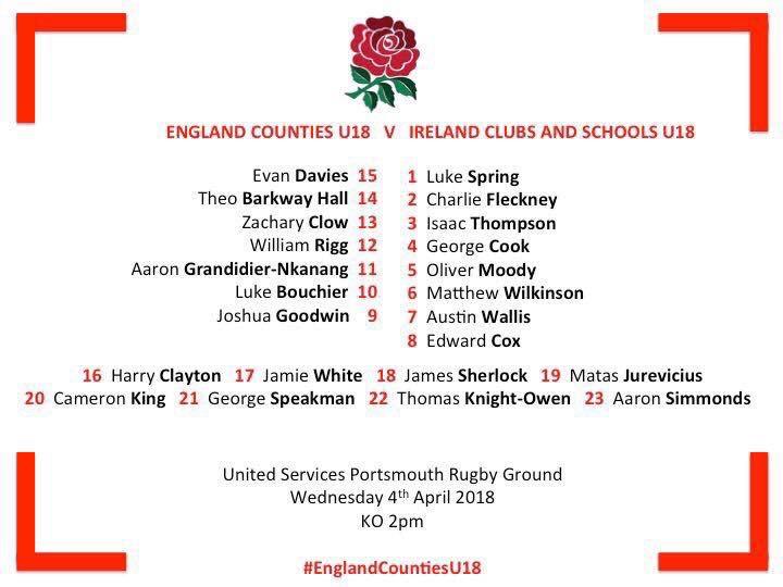 England Counties U18 v Ireland Clubs and Schools U18