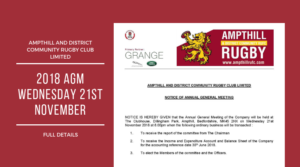 Reminder – 2018 AGM – Ampthill and District Community Rugby Club Limited