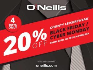 O'Neills Black Friday 20% Discount
