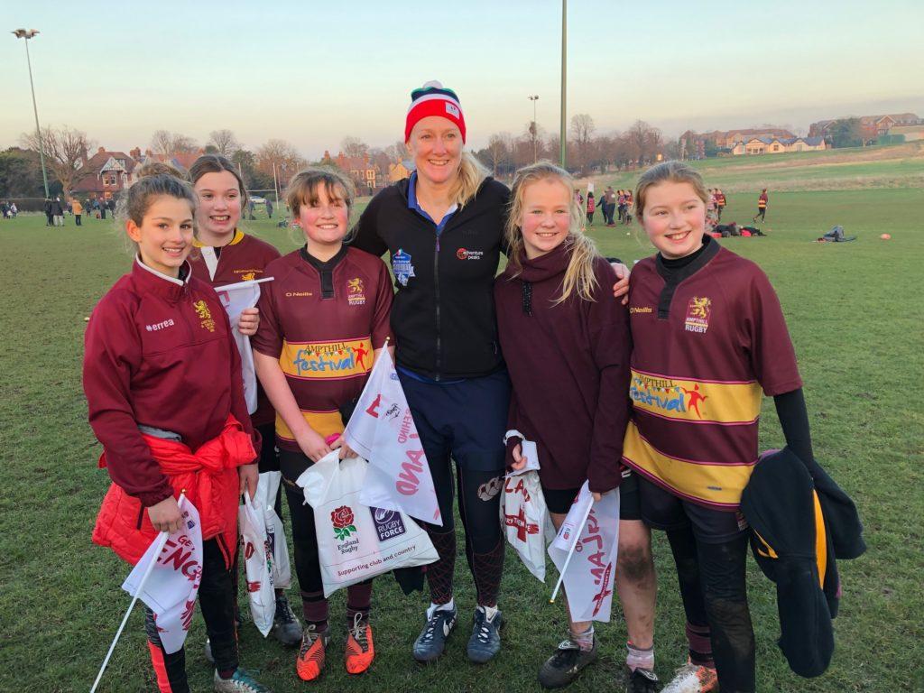 U13 & U15 girls meet England women rugby stars!