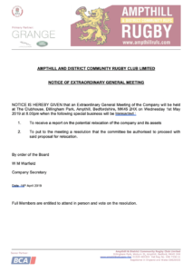 NOTICE OF EXTRAORDINARY GENERAL MEETING 01.05.2019