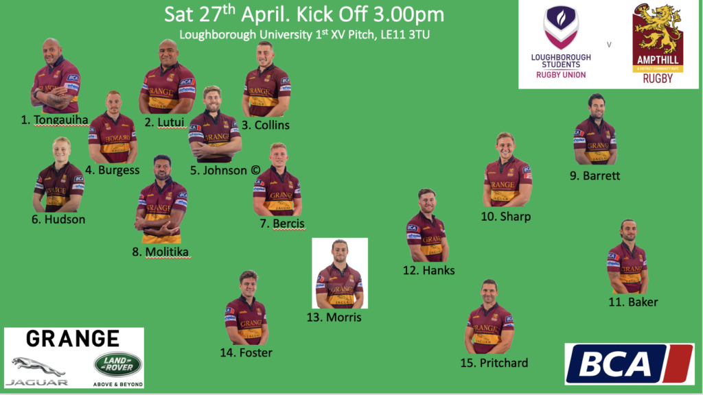 1st XV to face Loughborough Students RFC, 27.04.2019