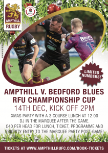 1st XV v Bedford Blues - Xmas Lunch & Party @ Ampthill Rugby Club