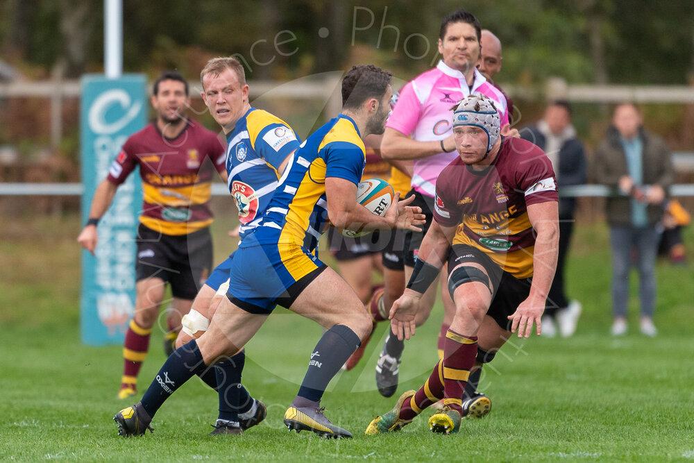 4 turnover Joe Bercis lines up a tackle