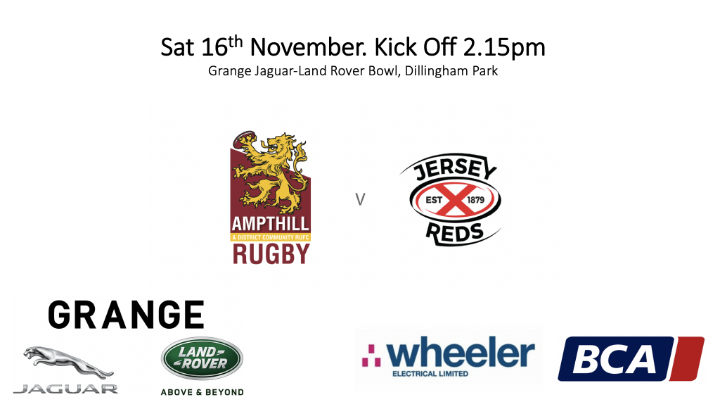 Ampthill XV to face Jersey Reds, 16th Nov 2019, Kick Off 2.15pm