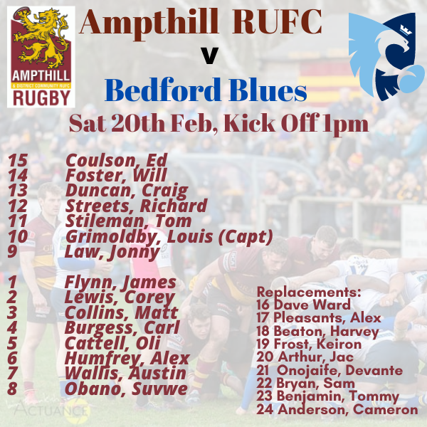 Team News – Ampthill v Bedford Sat 20th Feb, Kick Off 1pm