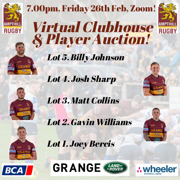 Virtual Clubhouse Night & Player Auction – Fri 5th March, 1900!