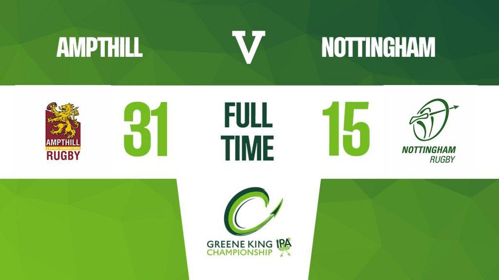 Match Report: 1st XV 31 v 15 Nottingham Rugby, 21/03/21
