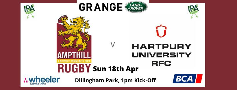 Match Preview: 1st XV v Hartpury University, Sun 18th Apr, 1pm Kick Off