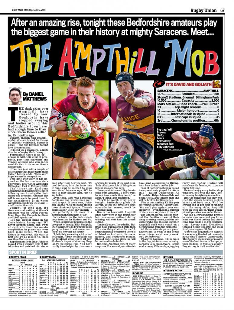 Ampthill v Saracens – Daily Mail – 17/05/2021