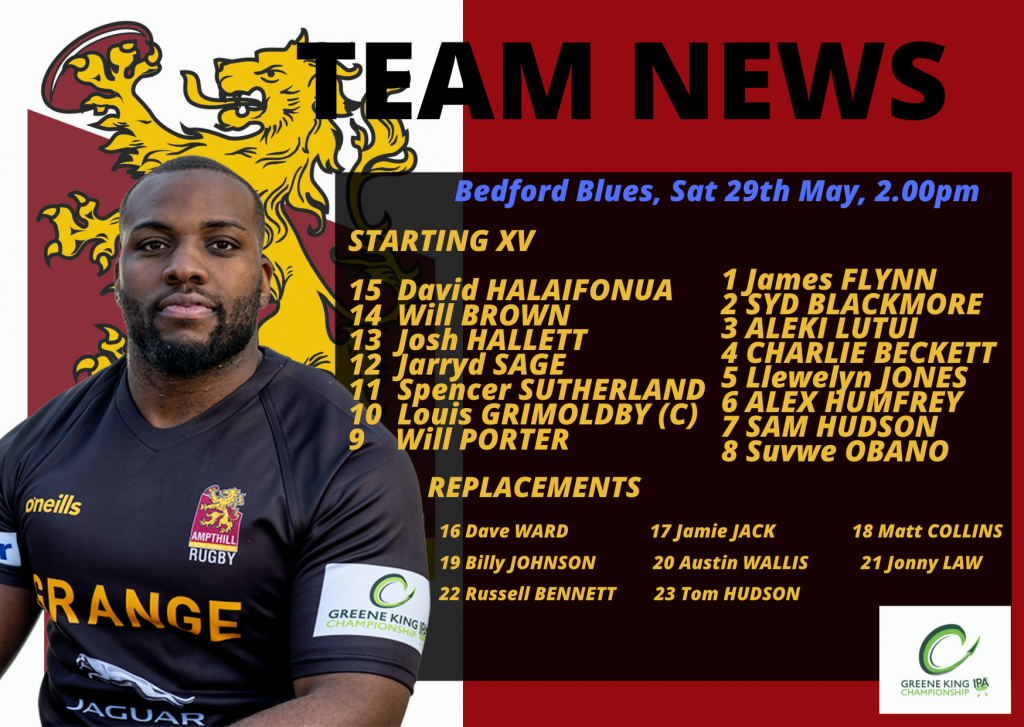 Match Preview: Bedford Blues v 1st XV, Sat 29th May, 2pm