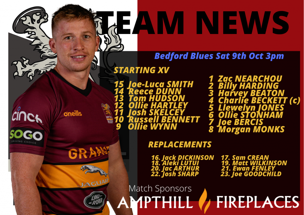 Match Preview: 1st XV v Bedford Blues, Sat 9th Oct